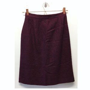 Vintage Eool Blend Burgundy Lined Pencil Skirt EUC